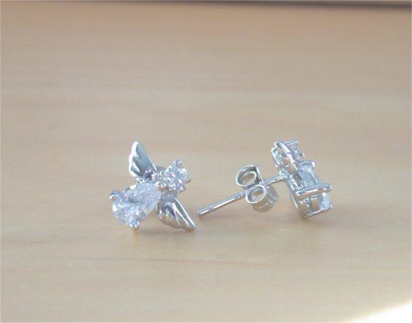 cz angel earrings