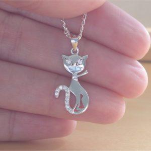 cz cat pendant