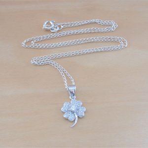 cz four leaf clover necklace