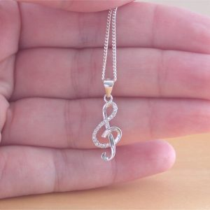 cz treble clef necklace