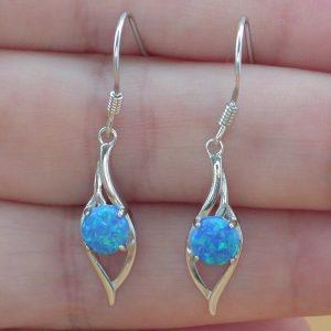 silver blue opal earrings