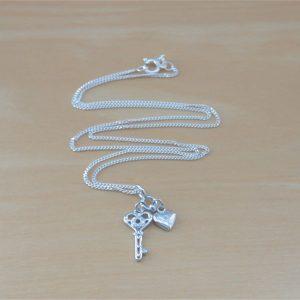cz heart key necklace