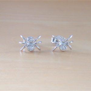 silver spider earrings